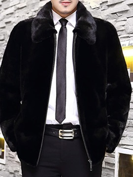 Thick Plain Lapel Winter Men's Jacket