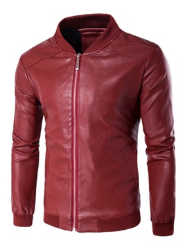 Standard Plain Stand Collar Slim Men's Leather Jacket