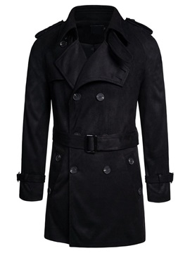 Lapel Mid-Length Plain Button Fall Men's Coat