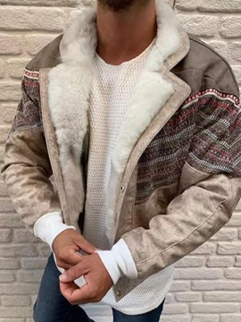 Patchwork Lapel Fleece Color Block European Men's Jacket
