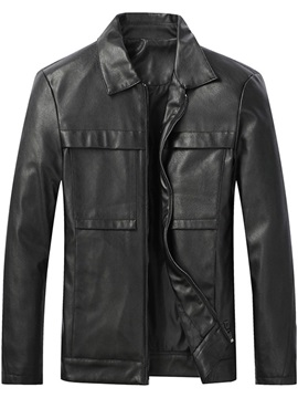 Standard Lapel Plain Fall Men's Leather Jacket