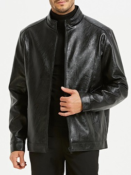 Plain Standard Stand Collar Casual Men's Leather Jacket