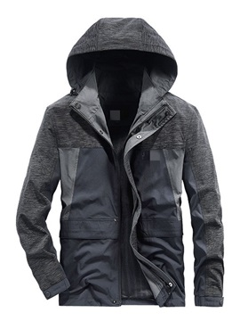 Thick Patchwork Hooded Color Block Casual Men's Jacket