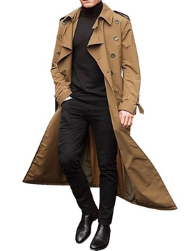 Belt Long Plain Lapel Loose Men's Trench Coat