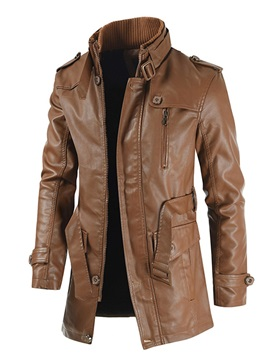 Mid-Length Plain Stand Collar Fashion Men's Leather Jacket