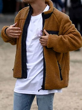 Patchwork Color Block Stand Collar Straight Men's Jacket