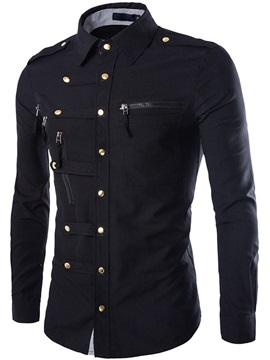 Unique Zip Design Breasted Button Down Men