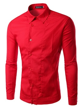 Diagonal Single Button Lapel Men's Solid Color Shirt
