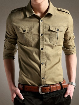 Solid Color Single-Breasted Lapel Long Sleeve Slim Men's Casual Shirt