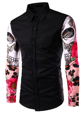 Tidebuy Painting Decorated Long Sleeve Lapel Men's Shirt