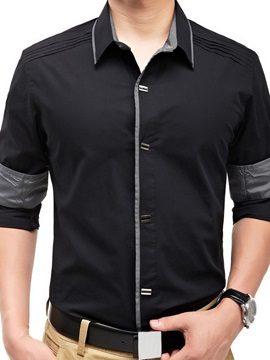 Lapel Single-Breasted Shoulder Patched Men's Shirt