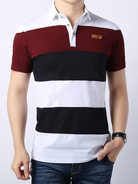Multi-Color Stripe Lapel Short Sleeve Men's Polo