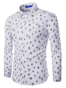 Balloon Printed Men's Cotton Blends Shirt
