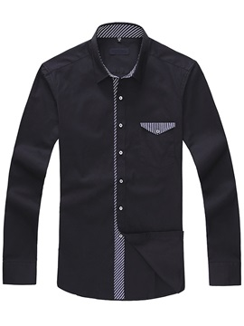 Chest Pocket Stripe Patch Men's Shirt