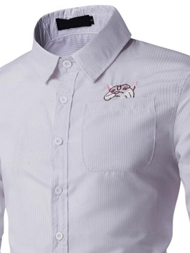 Sweet Cat Embroidery Solid Color Men's Shirts