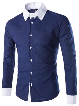 Color Patchwork Long Sleeve Casual Men's Shirt