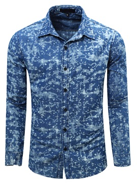 Vogue Print Cotton Blends Men's Single-Breasted Shirt