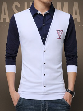 Patchwork Layered Cotton Blends Men's Slim Fit Shirt