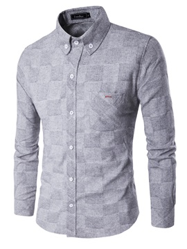 Plaid Slim Lapel Men's Leisure Shirt