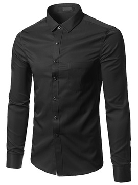 Single-Breasted Turn Down Collar Men's Plain Shirt