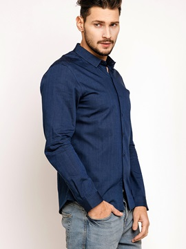Plain Lapel Single-Breasted Men's Shirt