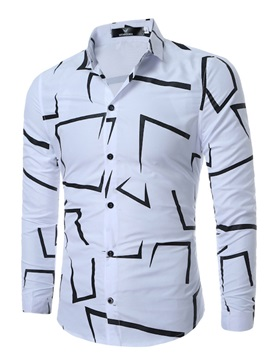 Asymmetric Geometric Print Lapel Men's Casual Shirt
