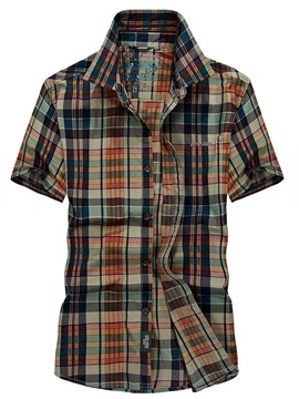 Plaid Casual Patchwork Men's Short Sleeve Shirt