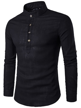 Plain Stand Collar Long Sleeve Men's Shirt