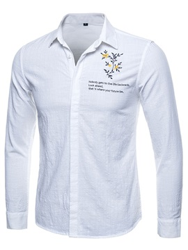 Preppy Style Floral Men's Leisure Shirt