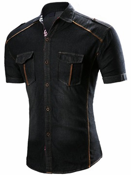 Epaulet Slim Pocket Men's Vogue Denim Shirt