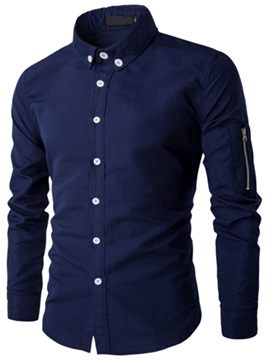 Simple Zipper Decorated Slim Men's Shirt