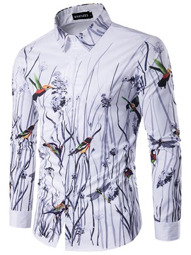 3D Bird Print Vogue Men's Casual Shirt