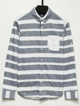 Stripe Chest Pocket Lapel Men's Shirt