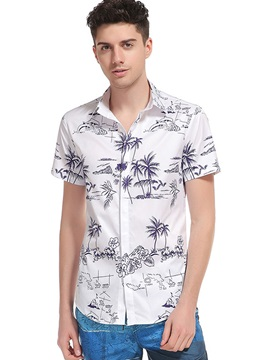 3D Summer Palm Print Men's Casual Shirt