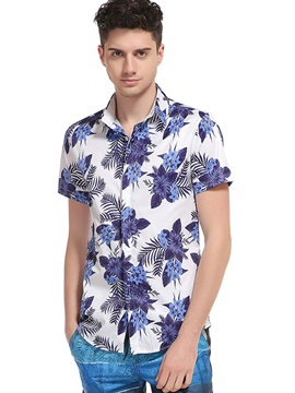 Slim Flower Print Lapel Men's Shirt