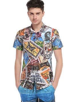 Stamp Lapel Short Sleeve Men's Vogue Shirt