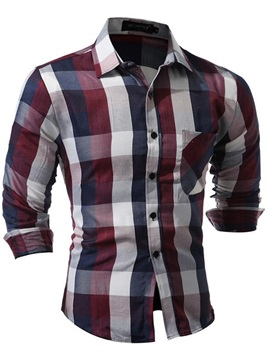 Plaid Chest Pocket Straight Men's Casual Shirt