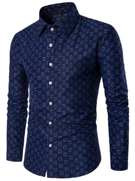Slim Leisure Geometric Print Men's Shirt