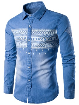 Ethnic Stylish Lapel Men's Denim Shirt