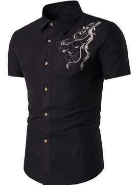 Embroidery Printed Short Men's Leisure Shirt