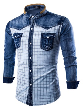 Plaid Color Block Wash Men's Denim Shirt