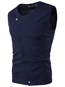Solid Color Sleeveless Slim Fit Men's Shirt