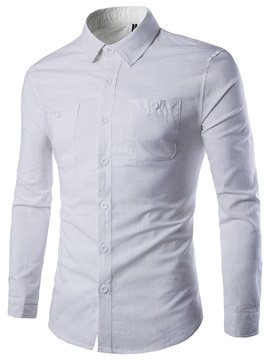 Lapel Plain Single-Breasted Men's Dress Shirt