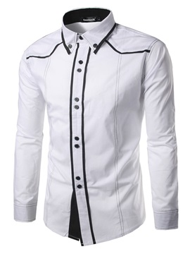 Lapel Color Block Single-Breasted Men's Casual Shirt