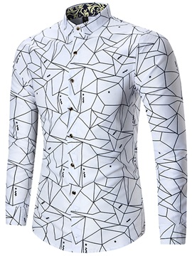 Lapel Geometric Pattern Print Long Sleeve Men's Shirt