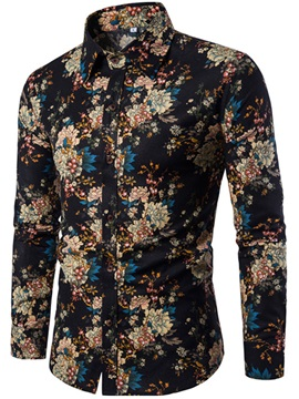 Floral Print Lapel Long Sleeve Men's Shirt