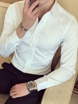 Slim Solid Color Banquet Long Sleeve Men's Shirts