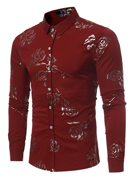 Rose Printing Lapel Single-Breasted Men's Casual Shirts