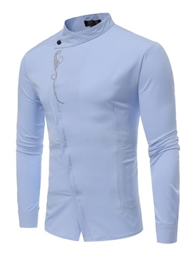 Stand Collar Solid Color Long Sleeve Men's Casual Shirt