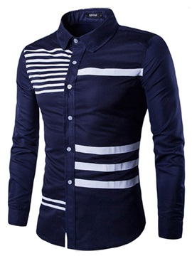Lapel Stripe Pattern Single-Breasted Men's Casual Shirt